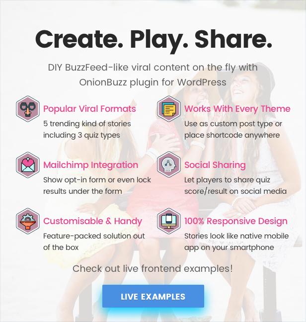 Viral Quiz Maker - OnionBuzz para WordPress - 1