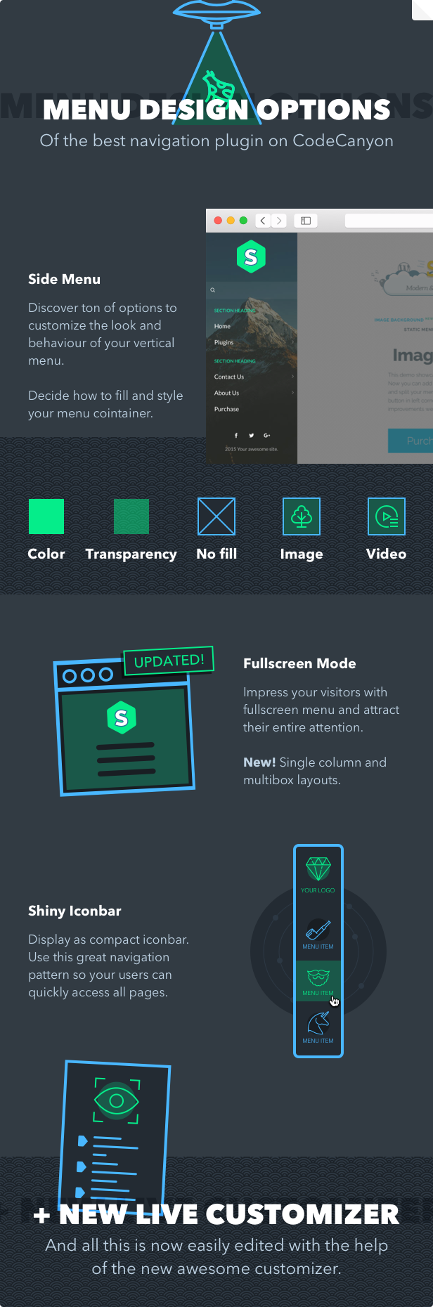 Superfly WordPress menu plugin design types