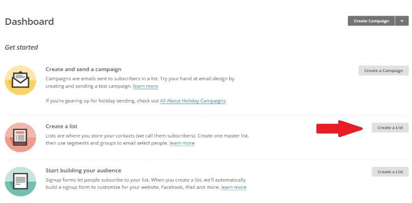 Create a list in MailChimp